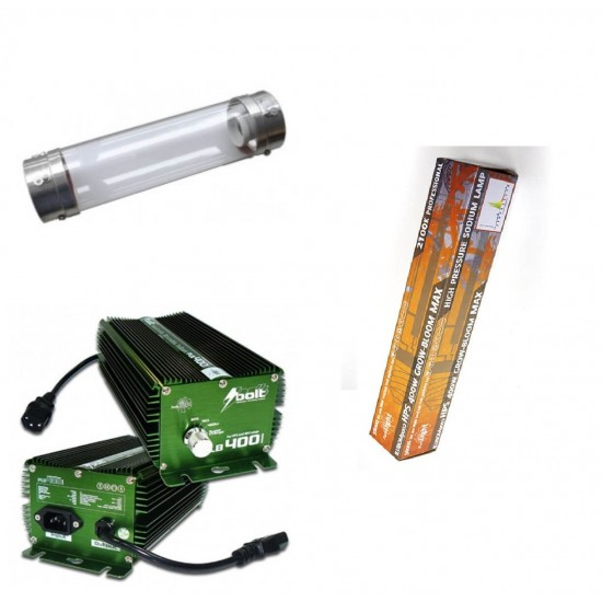 KIT 400W BOLT + COOLTUBE 125MM + PURE LIGHT HPS 400 W GROW-BLOOM MAX